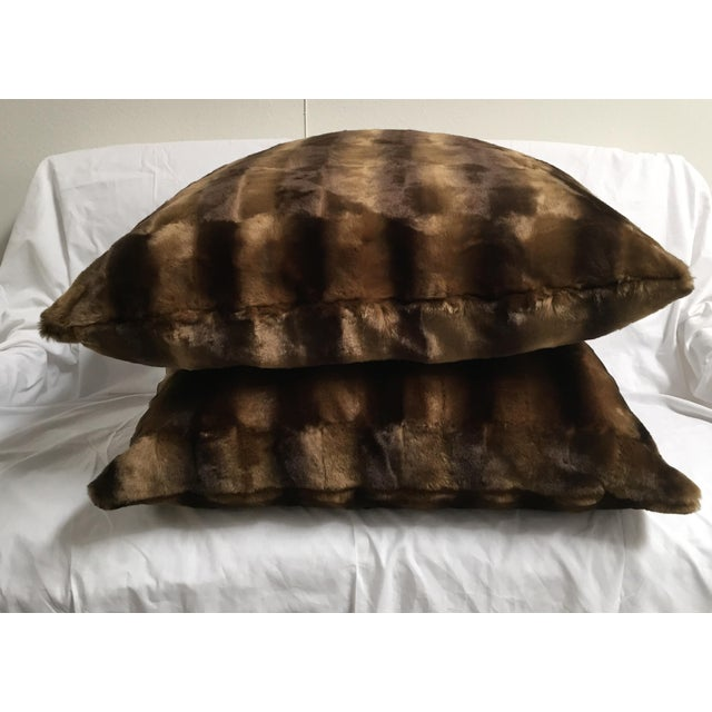 Contemporary Oversized Faux Mink Pillows - A Pair - Image 5 of 6