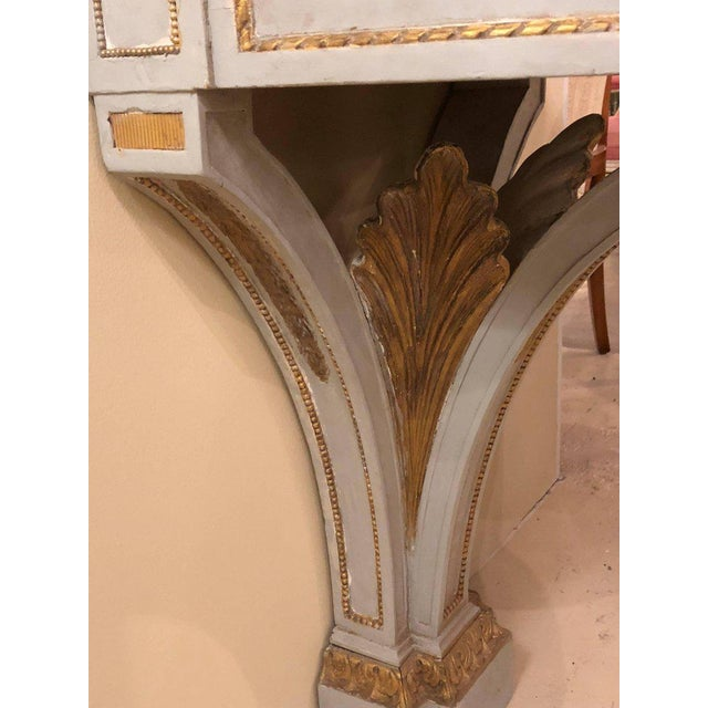 Gray Hollywood Regency Painted and Marble Demilune Consoles - a Pair For Sale - Image 8 of 12