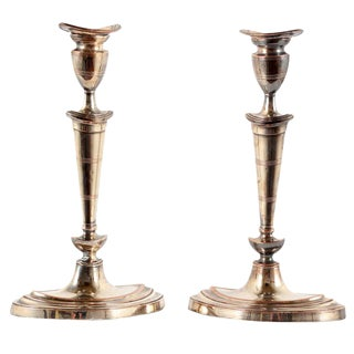 Classic Early 19th Century Sheffield Plate Candlesticks - A Pair