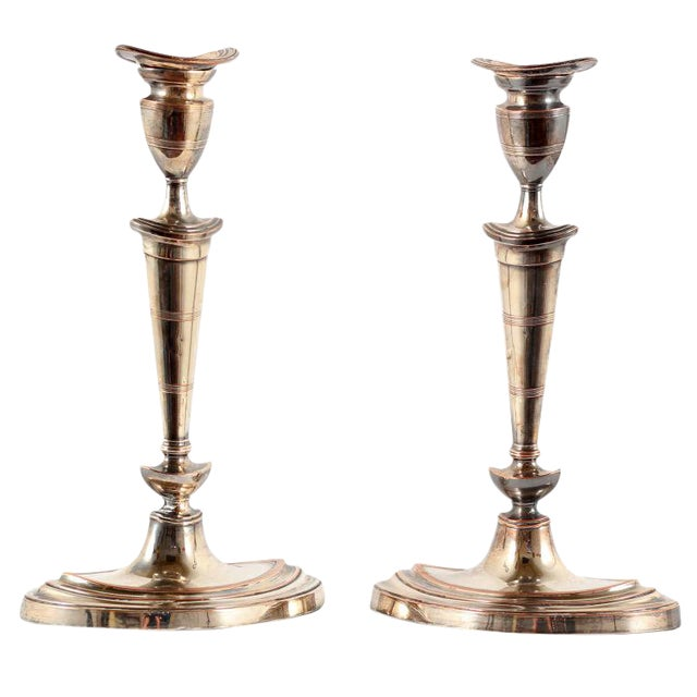Early 19th Century Sheffield Plate Candlesticks - A Pair For Sale