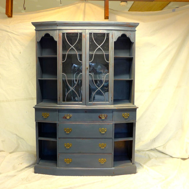 Traditional Vintage Mahogany Gray Cupboard For Sale - Image 3 of 11