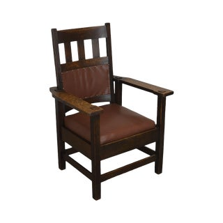 Stickley Brothers Antique Mission Oak Armchair For Sale