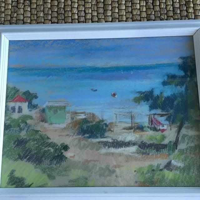 Boho Chic Original Oil Pastel Caribbean Coastal Seascape Framed Art For Sale - Image 3 of 11