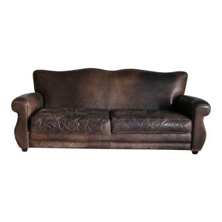 Ralph Lauren Vintage Distressed Leather Sofa For Sale