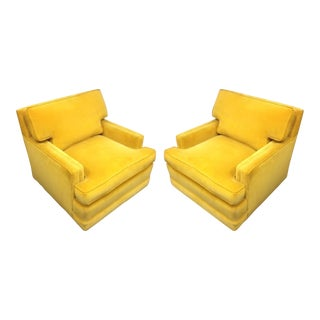Vintage Yellow Velvet Club Lounge Chairs - A Pair For Sale