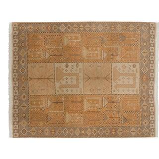 Vintage Distressed Indian Qashqai Soumac Design Carpet - 8' X 10' For Sale