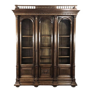 Bookcase, 19th Century French Henry II in Walnut For Sale