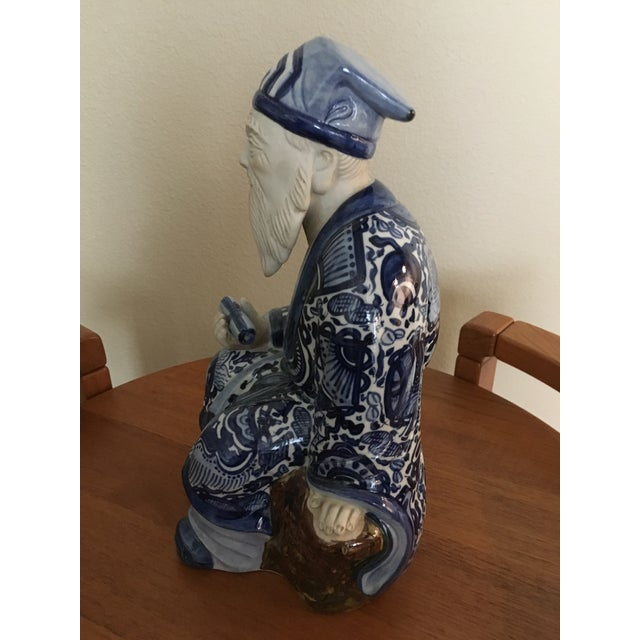 Ceramic Blue & White Chinese Emperor For Sale - Image 3 of 7