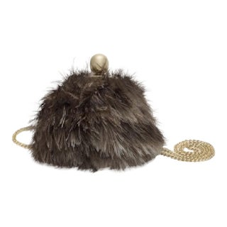 Kate Spade Swan Lake Scottie Feather Brown Evening Day Handbag Vintage Antique For Sale