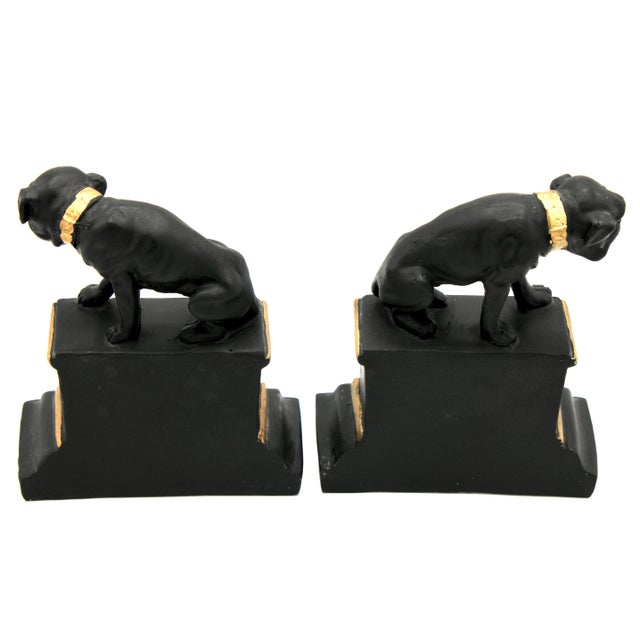 Mid 20th Century Mid 20th Century Black and Gold Ceramic Dog Bookends For Sale - Image 5 of 13