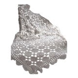 Image of Antique 1910s French Hand Made White Lace Crocheted Bed Cover For Sale