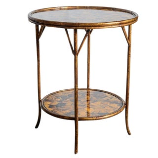 Vintage Faux Bamboo Metal and Pen-Shell Two Tier Table For Sale