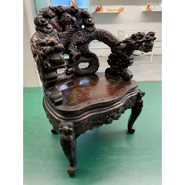 Wood Vintage Carved Rosewood Oriental Dragon Chairs - a Pair For Sale - Image 7 of 12