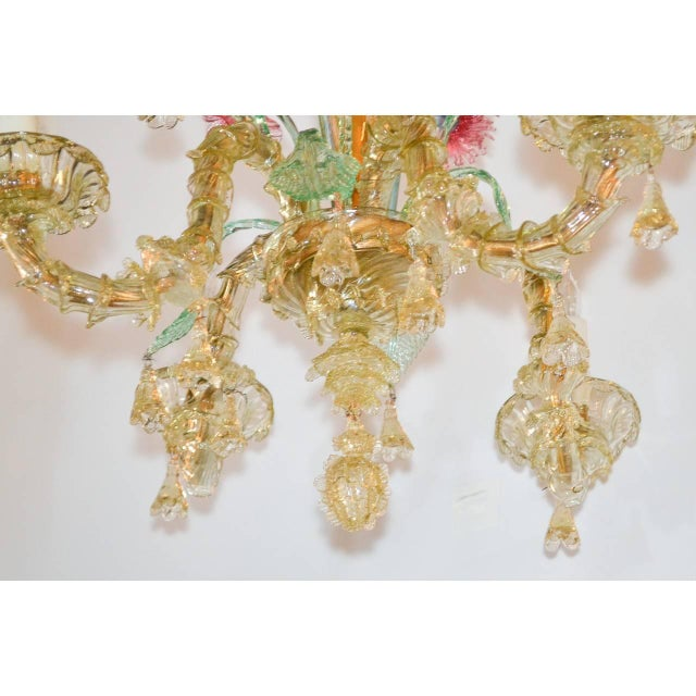 Exquisite four-light antique Murano chandelier handmade in Italy. A multi colored jewel! Ready to install, circa 1920....