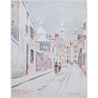 """1950s Maurice Utrillo, """"Sacre-Coeur De Montmartre and Passage Cottin"""" Lithograph For Sale"""