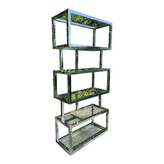 Mid Century Modern Freestanding Shelf Made in Chrome & Glass Inspired by Milo Baughman For Sale