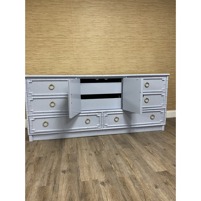 Drexel Vintage Drexel Lexington Faux Bamboo Blue Gray Lacquered Credenza For Sale - Image 4 of 7