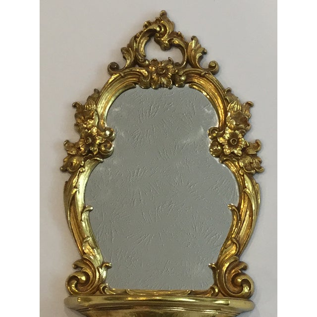 Syroco Mid Century Gilt Mirror and Wall Bracket by Dart For Sale - Image 4 of 6