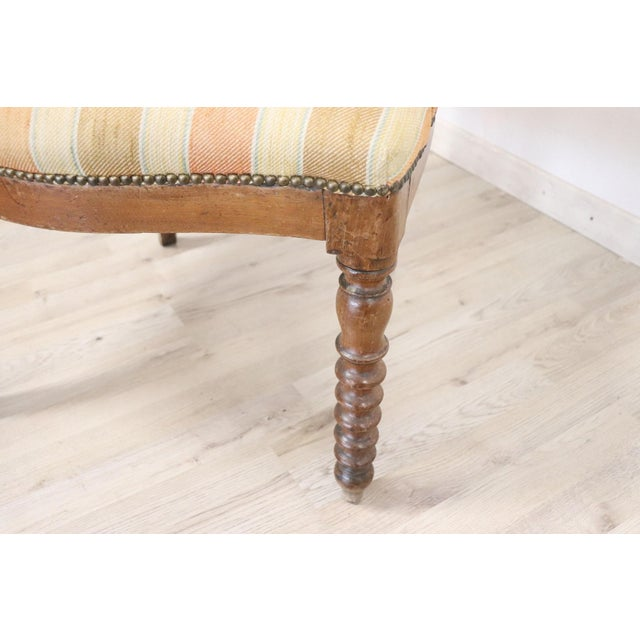 19th Century Italian Empire Walnut Armchair, Legs in Turned Walnut For Sale - Image 4 of 10