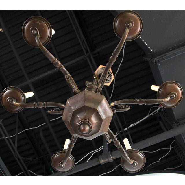 Neoclassical 1900 Caldwell Brown Patined Bronze Six-Light Chandelier For Sale - Image 3 of 4