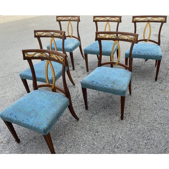 """A gorgeous set of six Italian Provincial or Regency style dining chairs By Baker Furniture """"Milling Road"""" Collection,..."""