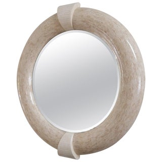 Karl Springer Style Tessellated Round Mirror For Sale