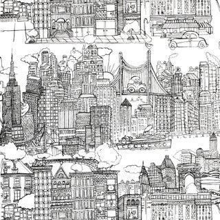 Sample - Schumacher New York New York Wallpaper in Black on White Preview