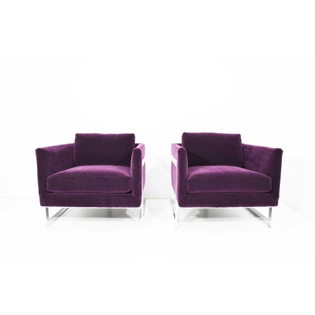 Chrome Milo Baughman T-Back Cube Chairs in Maharam Mohair - a Pair For Sale - Image 7 of 13