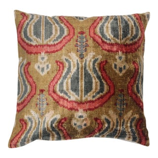 Contemporary Silk Velvet Ikat Pillow Cover Bohemian Pillow For Sale