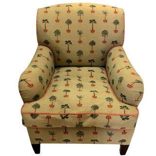 Traditional George Smith Yellow Upholstered Printed Club Chair