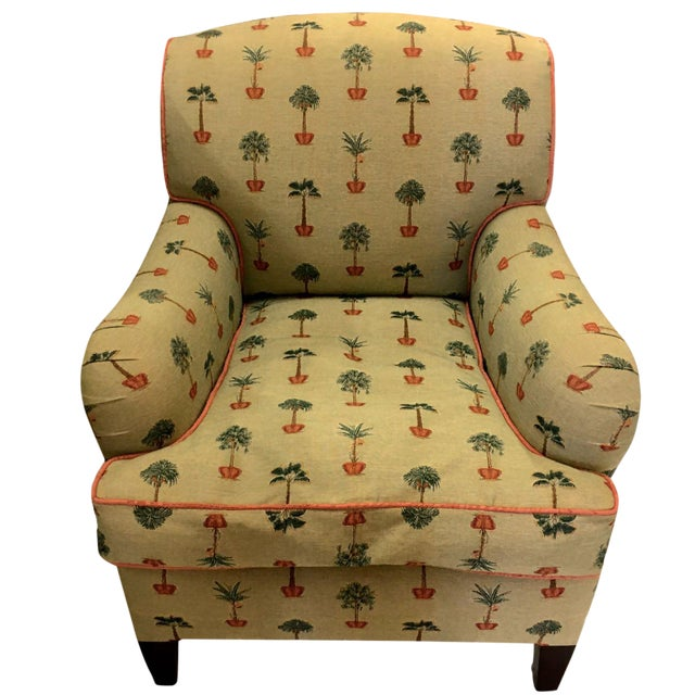 Traditional George Smith Yellow Upholstered Printed Club Chair For Sale