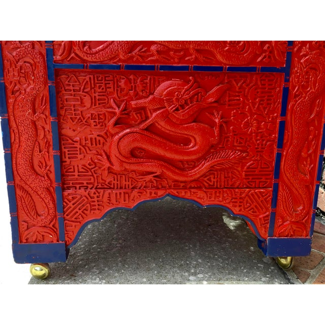 Red Lacquered Asian Bench/Ottoman For Sale In West Palm - Image 6 of 10