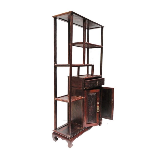 This is a traditional Chinese desktop display stand for small items collection. It is made of the Chinese rosewood -...