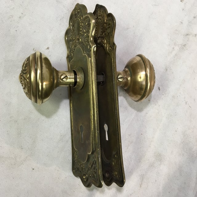 Antique Style Victorian Filigree Brass Back Plates and Doorknobs For Sale - Image 10 of 10