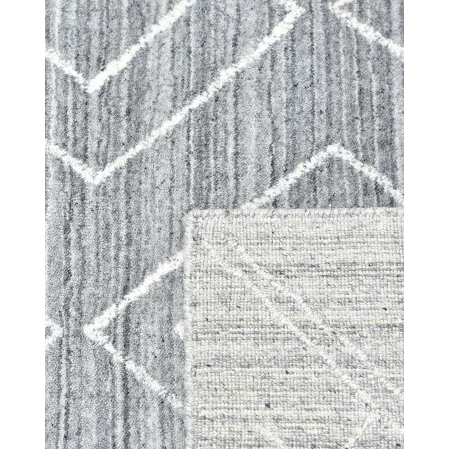 Maxwell, Bohemian Moroccan Hand Loom Area Rug, Silver, 5 X 8 For Sale - Image 4 of 9