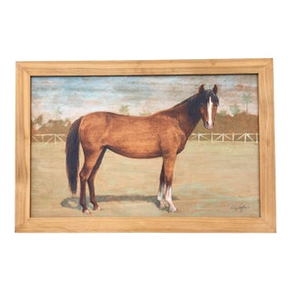 """""""Portrait of a Horse"""" Original Acrylic Painting on Board by Audrey Heffner For Sale"""