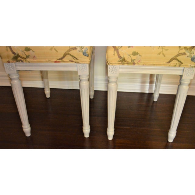Gustavian Yellow Fabric Benches - a Pair For Sale In Buffalo - Image 6 of 9