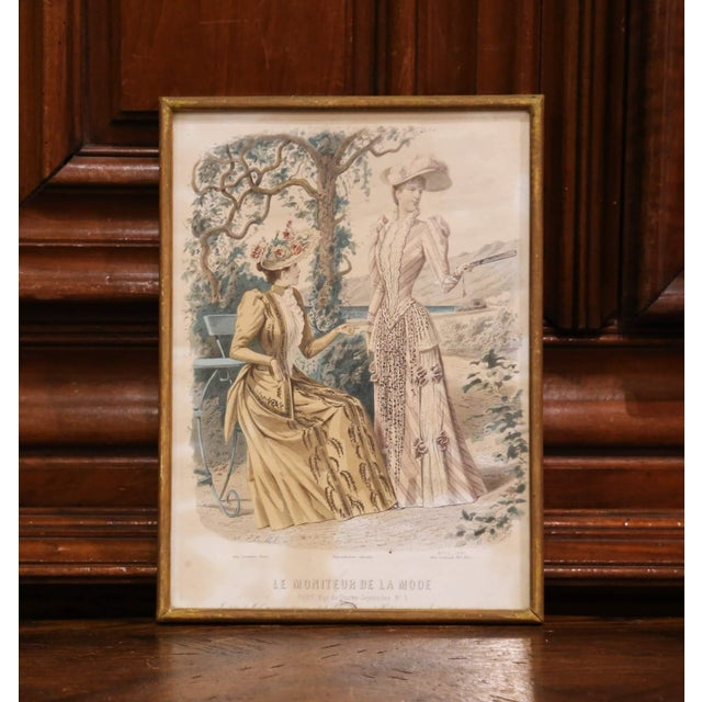 """Late 19th Century 19th Century French Color Women Fashion Prints Framed Dated 1890 """"Set of Five"""" For Sale - Image 5 of 13"""
