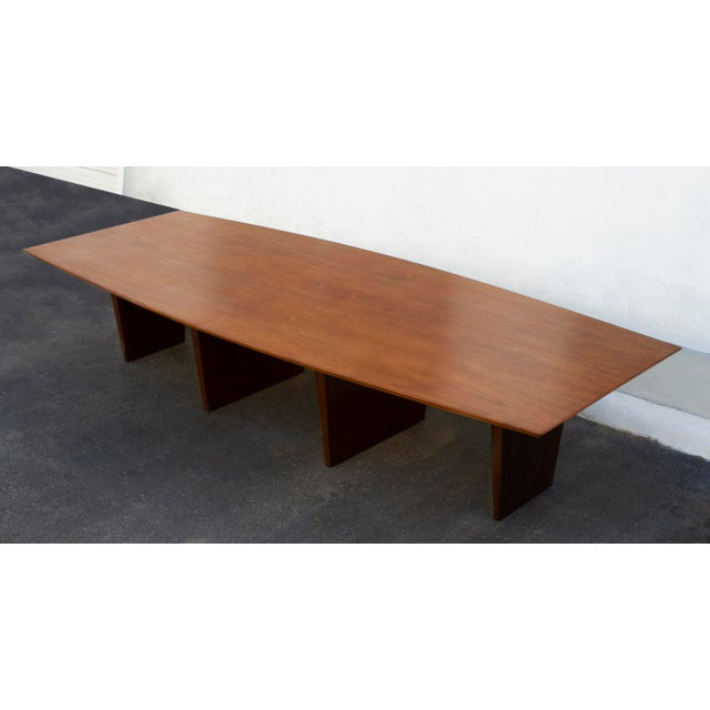Mid-Century Modern Massive Edward Wormley for Dunbar Walnut and Mahogany Dining / Conference Table For Sale - Image 3 of 12