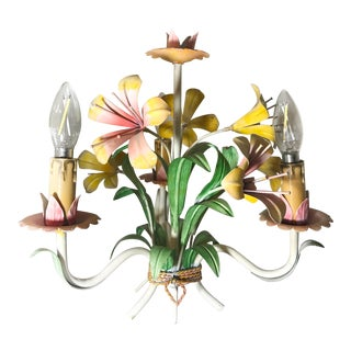 1950s Vintage French Pink & Yellow Tole Chandelier For Sale
