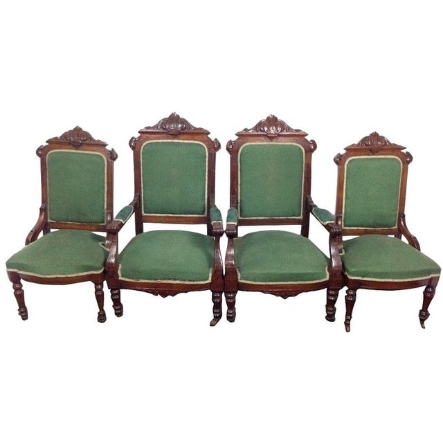 Rococo Revival Carved Dining Chairs - Set of 4 For Sale