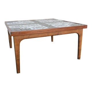 1950s Mid Century Modern Blue Tiled Top Teak Coffee Table For Sale