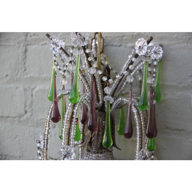 Pineapple Green & Purple Drop Chandelier - Image 3 of 9