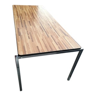 Mid-Century Modern Florence Knoll Style Chrome Dining / Conference Table For Sale
