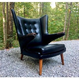 Hans Wegner Papa Bear Chair W/ Black Naugahyde & Exposed Nail Head Trim Preview