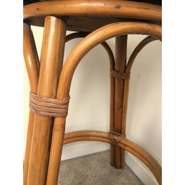 Vintage Boho Bamboo Swivel Counter Stools - A Pair - Image 4 of 6