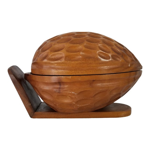 Large Sculptural Walnut Shape Decorative Wood Box For Sale