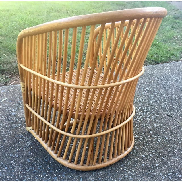 Vintage Rattan Barrel Chair - Image 7 of 11