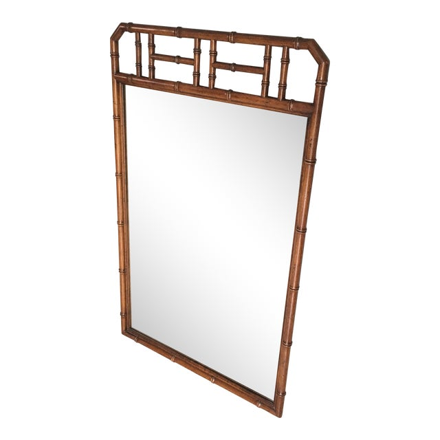 Mid Century Faux Bamboo Wall Mirror For Sale