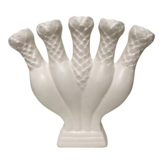 1970s Traditional White Bisque Five Finger Vase